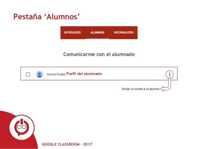 GOOGLE CLASSROOM · 2017 Pestaña 'Alumnos' Perfil del alumnado Comunicarme con el alumnado