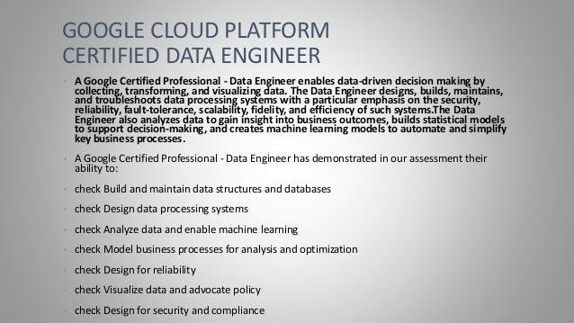 google cloud certification data engineer