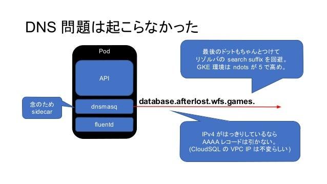 DNS 問題 起こらなかった Pod API dnsmasq fluentd database.afterlost.wfs.games. 最後 ドットもちゃんとつけて リゾルバ search suffix を回避。 GKE 環境 ndots が...