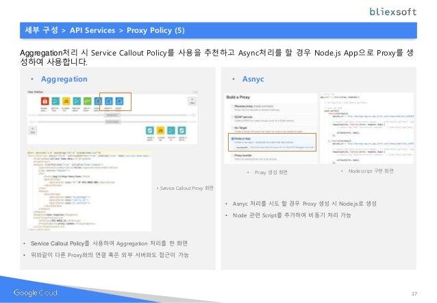 17 세부 구성 > API Services > Proxy Policy (5) Aggregation처리 시 Service Callout Policy를 사용을 추천하고 Async처리를 할 경우 Node.js App으로 Pr...