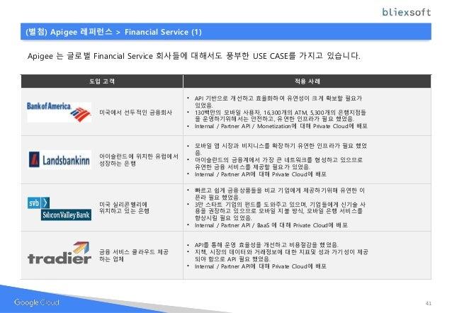 Apigee 는 글로벌 Financial Service 회사들에 대해서도 풍부한 USE CASE를 가지고 있습니다. 도입 고객 적용 사례 미국에서 선두적인 금융회사 • API 기반으로 개선하고 효율화하여 유연성이 크게 ...