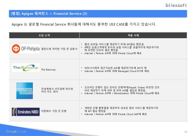 Apigee 는 글로벌 Financial Service 회사들에 대해서도 풍부한 USE CASE를 가지고 있습니다. 도입 고객 적용 사례 필란드에 위치한 가장 큰 금융사 • 웹과 모바일 서비스를 제공하기 위해 API필요...