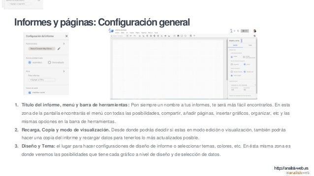 Informes y páginas: Configuración general 1. Título del informe, menú y barra de herramientas: Pon siempre un nombre a tus...