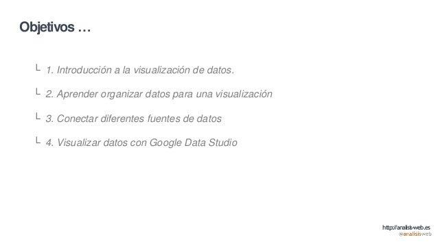 Objetivos … └ 1. Introducción a la visualización de datos. └ 2. Aprender organizar datos para una visualización └ 3. Conec...