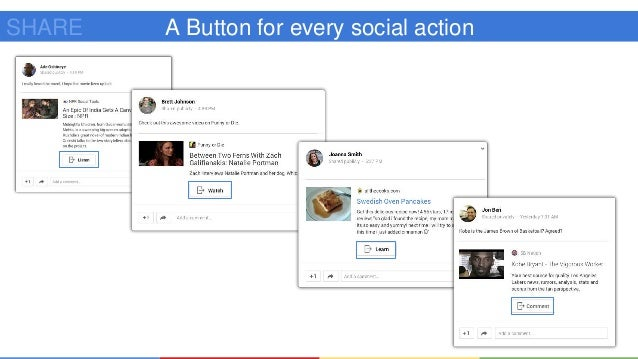 Google+ API Google+ API (https://developers.google.com/+/) ● Sign In Button ● Profile and People information ● Interactive...