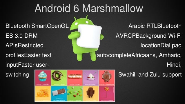 Arabic RTLBluetooth AVRCPBackground Wi-Fi locationDial pad autocompleteAfricaans, Amharic, Hindi, Swahili and Zulu support...