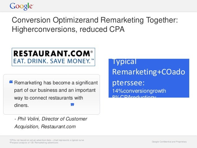 Google Confidential and ProprietaryGoogle Confidential and Proprietary Conversion Optimizerand Remarketing Together: Highe...