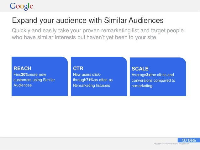 Google Confidential and ProprietaryGoogle Confidential and Proprietary Expand your audience with Similar Audiences Quickly...