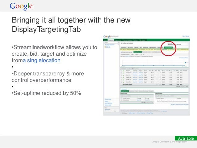 Google Confidential and ProprietaryGoogle Confidential and Proprietary Bringing it all together with the new DisplayTarget...