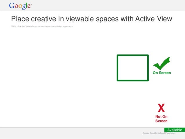 Google Confidential and ProprietaryGoogle Confidential and Proprietary Place creative in viewable spaces with Active View ...