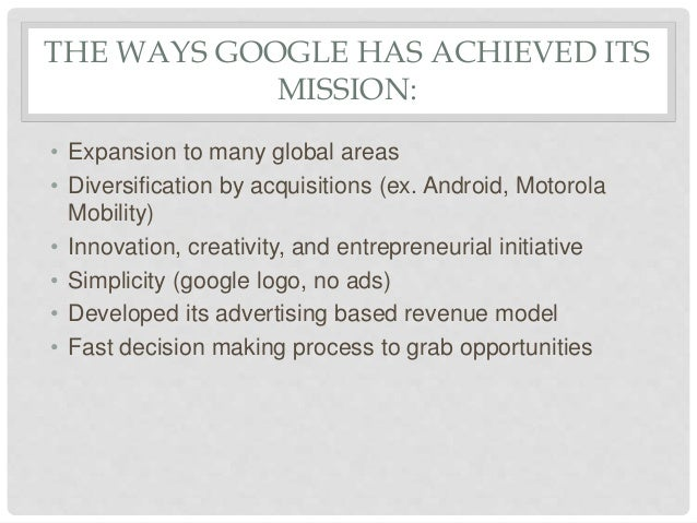 Diversification strategy of google
