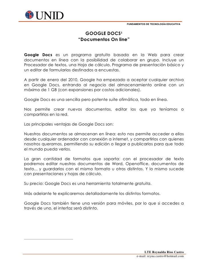 "FUNDAMENTOS DE TECNOLOGÍA EDUCATIVA                              GOOGLE DOCS1                           ""Documentos On lin..."
