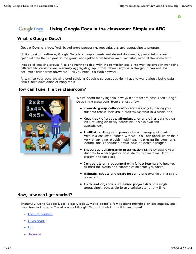 Using Google Docs in the classroom: S...                                       http://docs.google.com/View?docid=dcdn7mjg_...