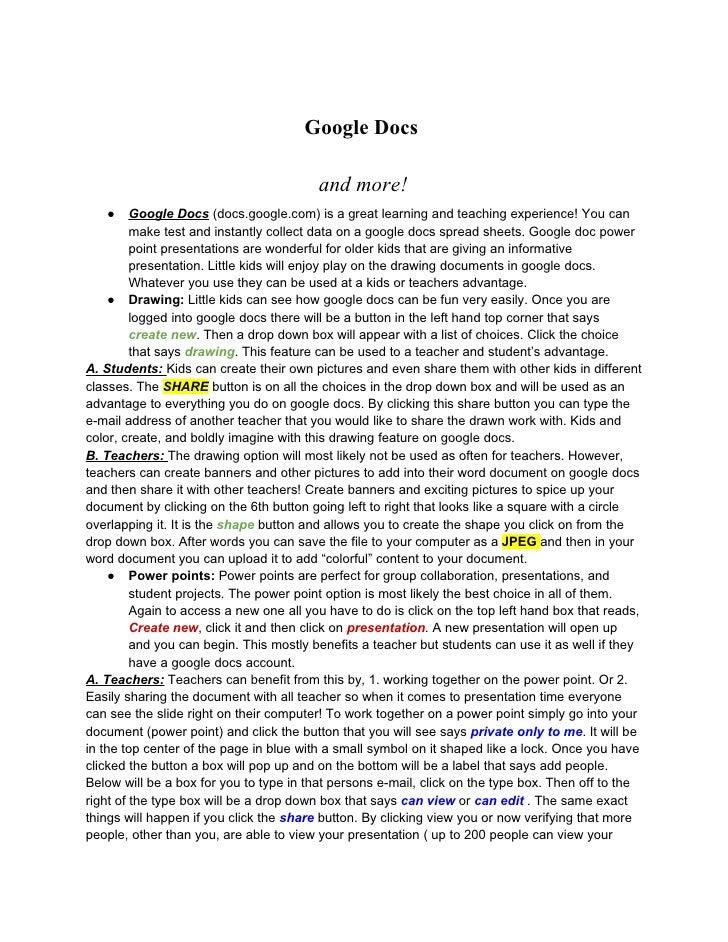 Google Docs                                           and more!    ●     Google Docs (docs.google.com) is a great learning...