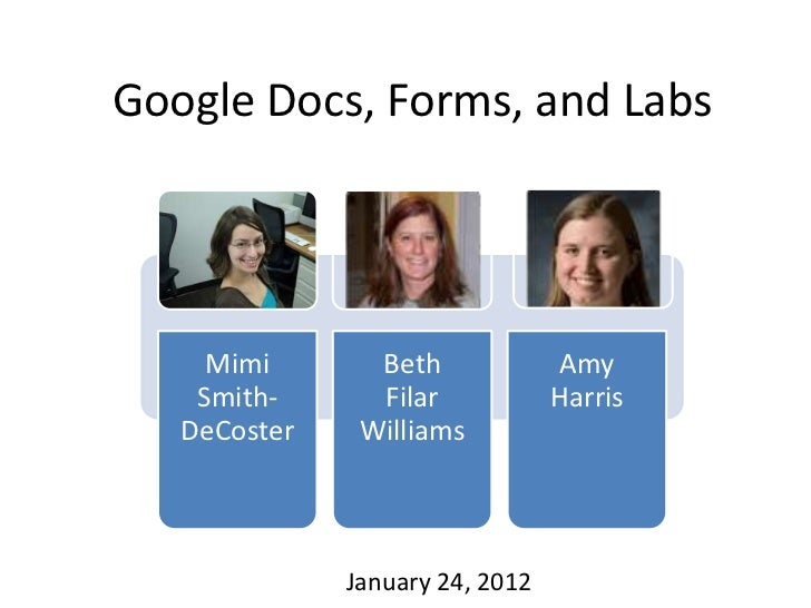 Google Docs, Forms, and Labs     Mimi       Beth             Amy    Smith-      Filar            Harris   DeCoster    Will...