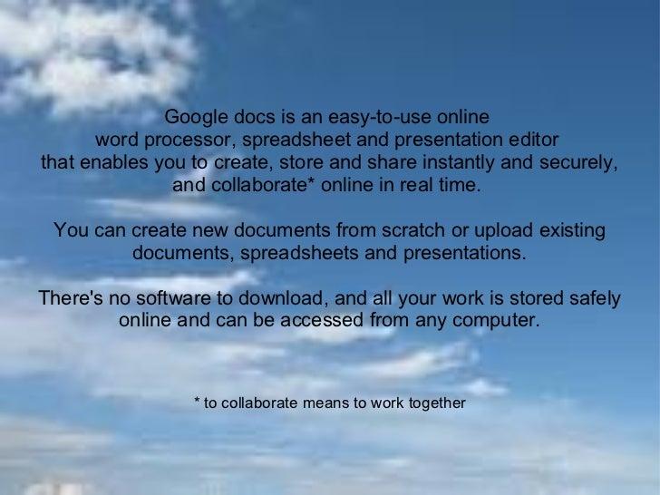 Google docs multimedia presentation Slide 3