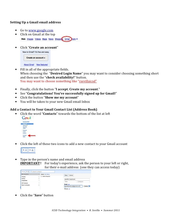 """Setting Up a Gmail email address   •   Go to www.google.com   •   Click on Gmail at the top   •   Click """"Create an account..."""