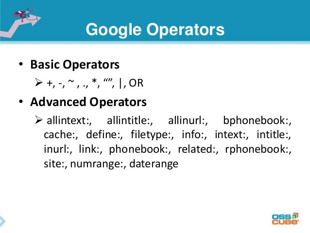 google dorks Just like in simple math equations, programming code, and other types of algorithms, google dorks has several operators that aspiring white hat hackers need to understand.