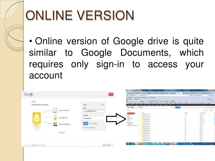 ONLINE VERSION• Online version of Google drive is quitesimilar to Google Documents, whichrequires only sign-in to access y...