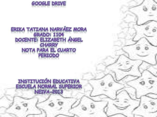 GOOGLE DRIVE  ERIKA TATIANA NARVÁEZ MORA GRADO: 1104 DOCENTE: ELIZABETH ÁNGEL CHARRY NOTA PARA EL CUARTO PERIODO  INSTITUC...