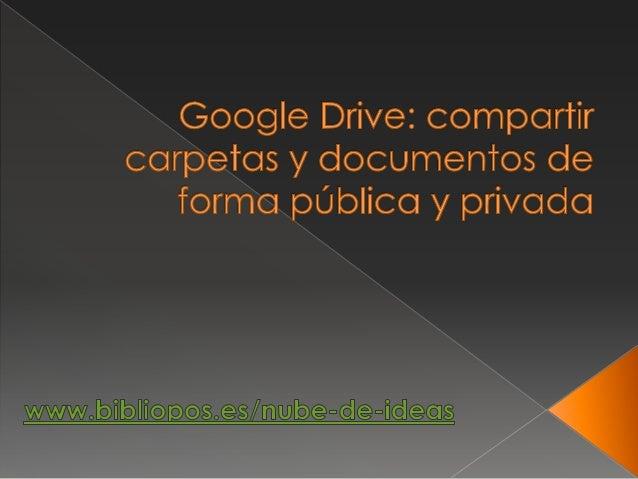 Drive, una forma rápida y sencilla para compartir un documento o una carpeta que contenga varios archivos, permitir que el...