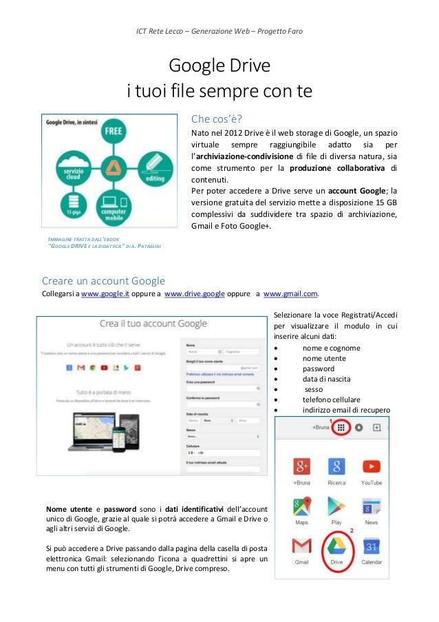 ICT Rete Lecco – Generazione Web – Progetto Faro Google Drive i tuoi file sempre con te Che cos'è? Nato nel 2012 Drive è i...