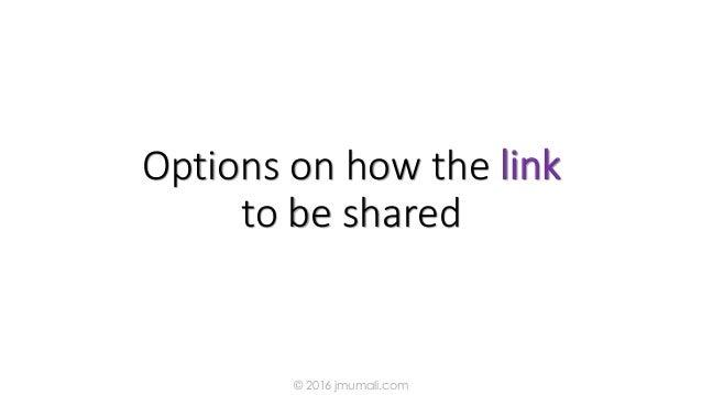 Options on how the link to be shared © 2016 jmumali.com