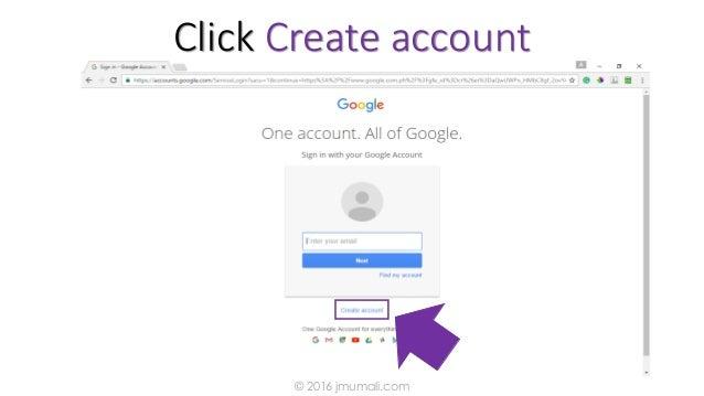 Click Create account © 2016 jmumali.com