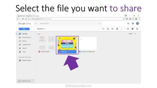 Select the file you want to share © 2016 jmumali.com