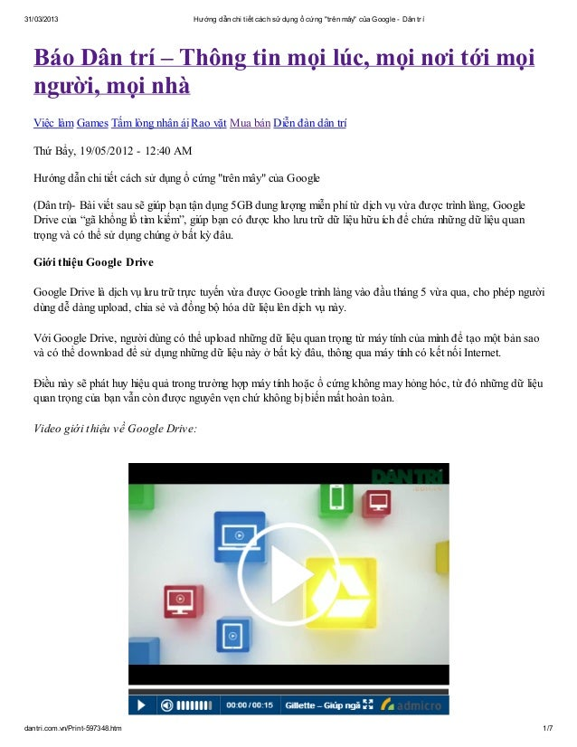 """31/03/2013                          Hướng dẫn chi tiết cách sử dụng ổ cứng """"trên mây"""" của Google - Dân trí  Báo Dân trí – ..."""