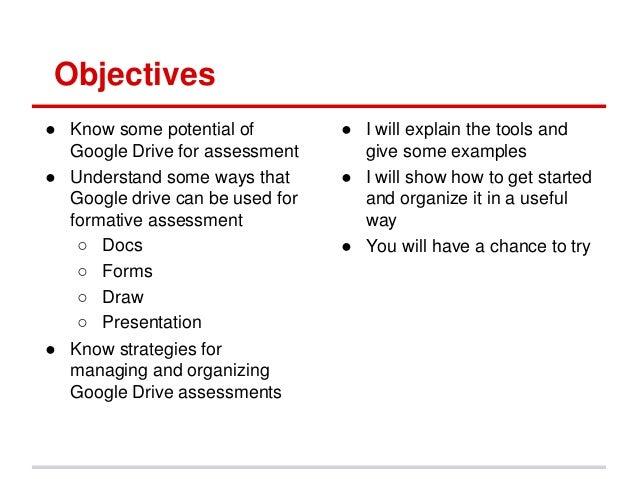 Google drive for formative assessment  Slide 2