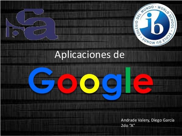 """Aplicaciones de  Google Andrade Valery, Diego García 2do """"A"""""""