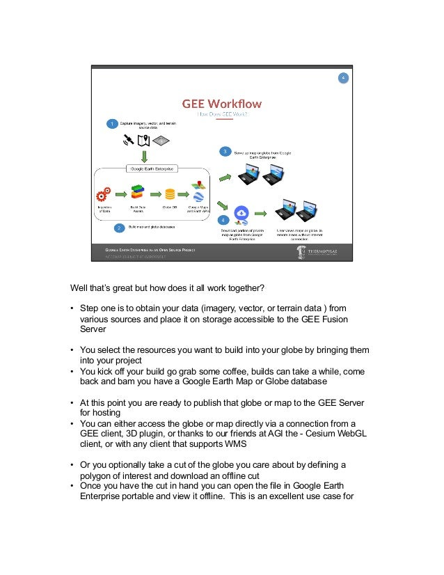 GEE has had some fairly interesting use cases over the years. I'll highlight some of the use cases from the opengee.org si...