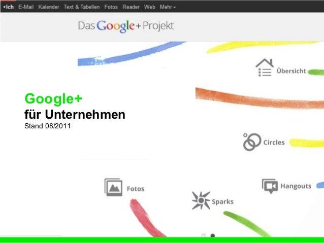 Google+für UnternehmenStand 08/2011                  www.beebop.de