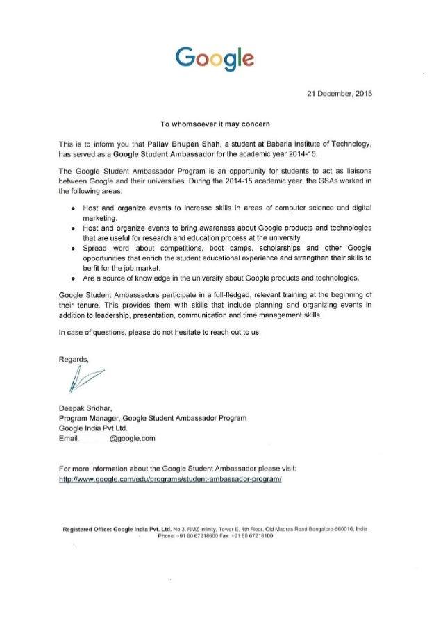 Letter  Google Inc