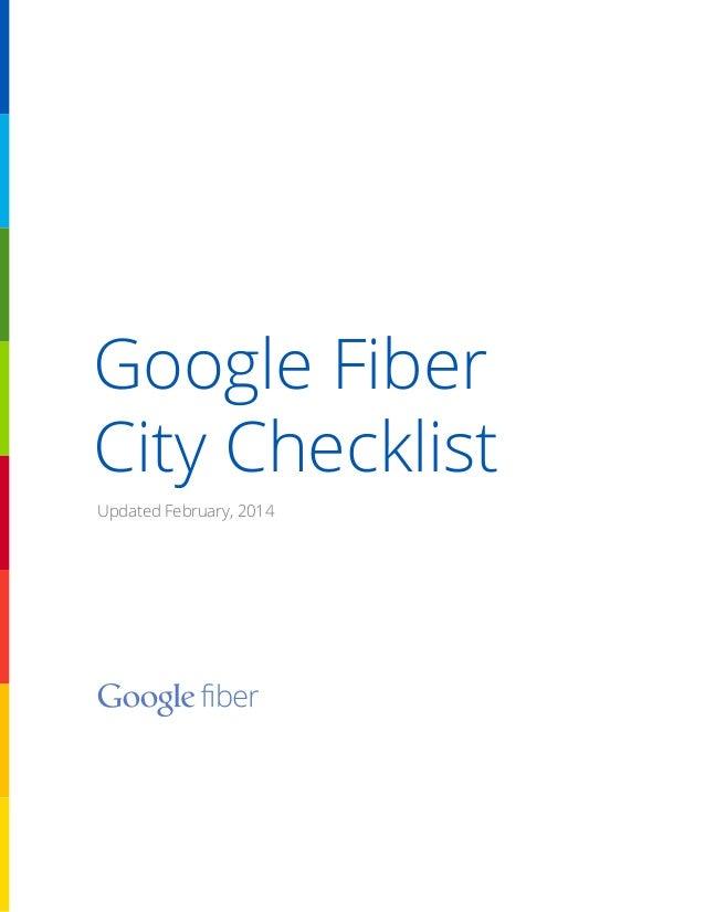 Google Fiber City Checklist Updated February, 2014