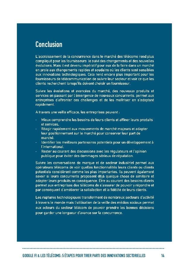 GOOGLE FI & LES TÉLÉCOMS: 5 ÉTAPES POUR TIRER PARTI DES INNOVATIONS SECTORIELLES 14 Conclusion - - - -