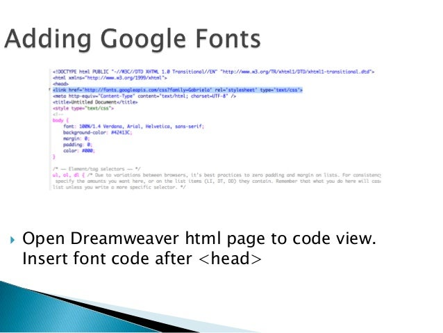 html dreamweaver fonts