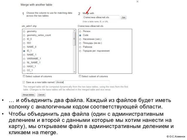 • … и объединить два файла. Каждый из файлов будет иметь  колонку с аналогичным кодом соответствующей области.• Чтобы объе...