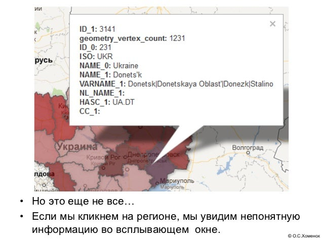 • Но это еще не все…• Если мы кликнем на регионе, мы увидим непонятную  информацию во всплывающем окне.               © О....