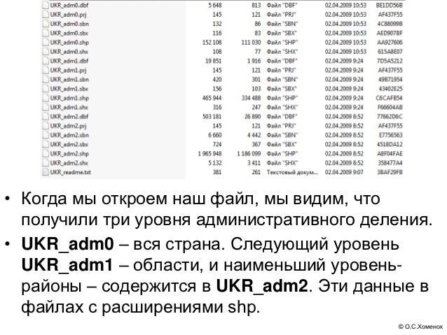 • Когда мы откроем наш файл, мы видим, что  получили три уровня административного деления.• UKR_adm0 – вся страна. Следующ...