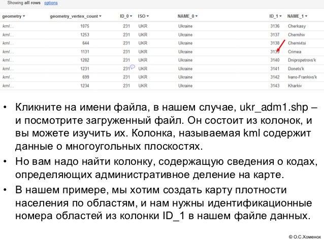 • Кликните на имени файла, в нашем случае, ukr_adm1.shp –  и посмотрите загруженный файл. Он состоит из колонок, и  вы мож...