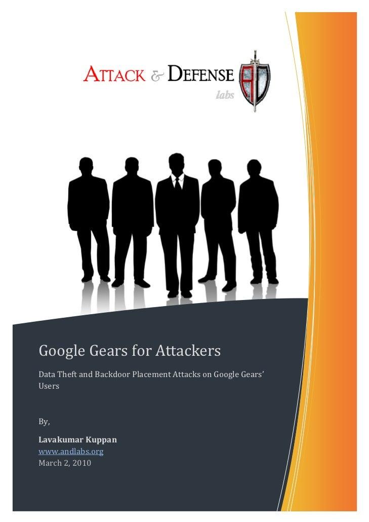 GoogleGearsforAttackersDataTheftandBackdoorPlacementAttacksonGoogleGears'U...