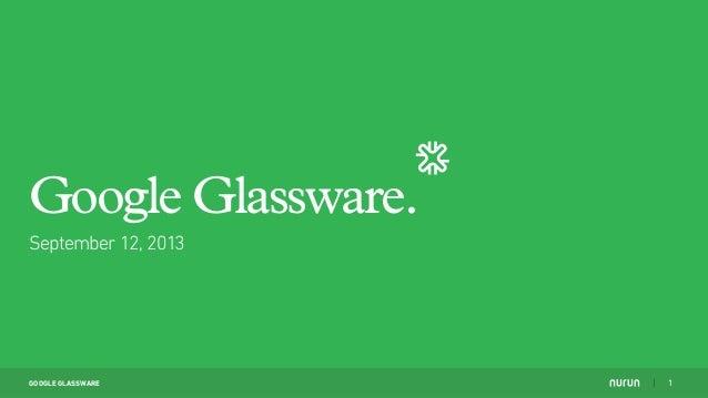 GOOGLE GLASSWARE September 12, 2013 Google Glassware. 1