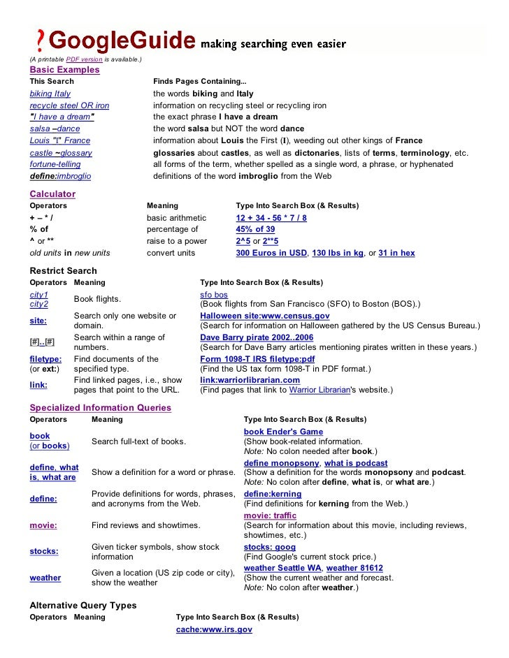 (A printable PDF version is available.)Basic ExamplesThis Search                                Finds Pages Containing...b...