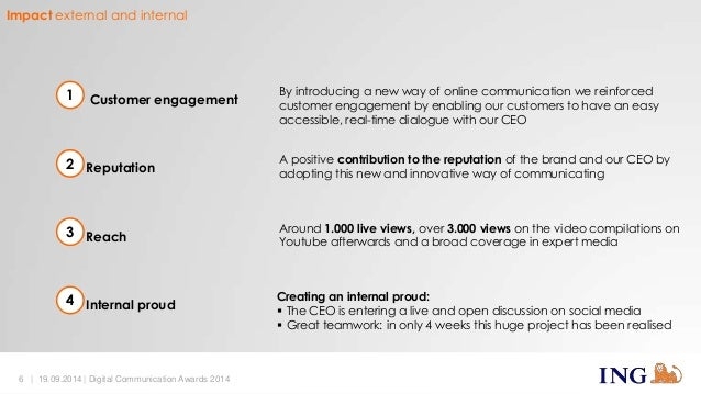 1 Customer engagement  2 Reputation  3 Reach  4 Internal proud  By introducing a new way of online communication we reinfo...