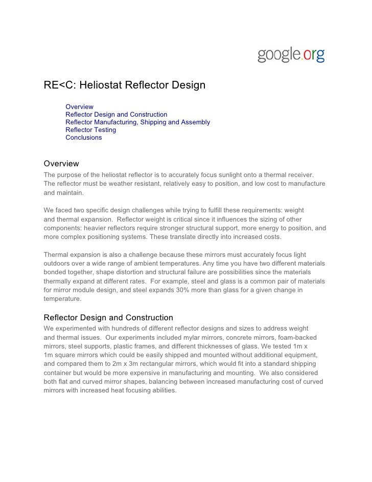RE<C: Heliostat Reflector Design       Overview       Reflector Design and Construction       Reflector Manufacturing, Shi...