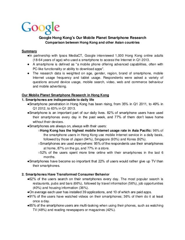 Google Hong Kong's Our Mobile Planet Smartphone Research Comparison between Hong Kong and other Asian countries Summary ●I...
