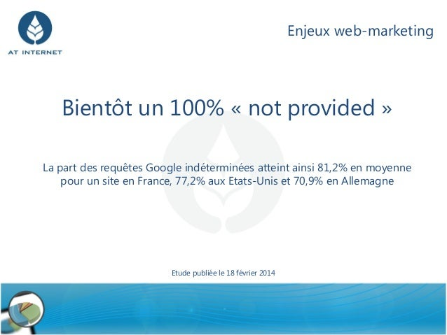 Enjeux web-marketing  Bientôt un 100% « not provided » La part des requêtes Google indéterminées atteint ainsi 81,2% en mo...