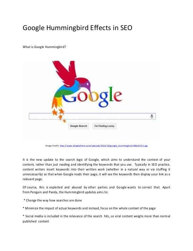 Google Hummingbird Effects in SEO What is Google Hummingbird?  Image Credit: http://www.idioplatform.com/uploads/2013/10/g...